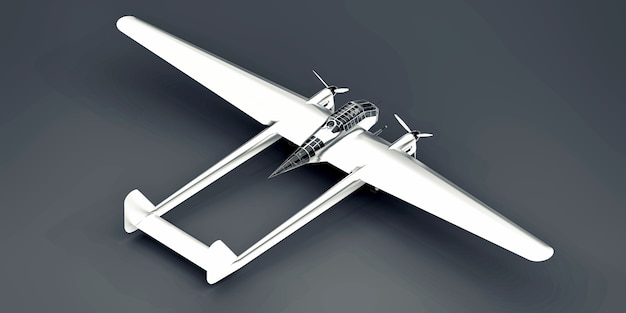 Modèle tridimensionnel de l'avion bombardier de la seconde guerre mondiale. corps en aluminium brillant avec deux queues et ailes larges. moteur turbopropulseur. avion brillant sur fond gris. illustration 3d.