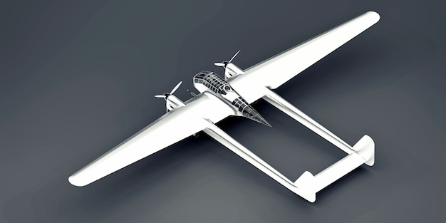 Modèle tridimensionnel de l'avion bombardier de la seconde guerre mondiale. corps en aluminium brillant avec deux queues et larges ailes. moteur turbopropulseur. avion brillant sur fond gris. illustration 3d.