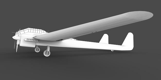 Modèle tridimensionnel de l'avion bombardier de la seconde guerre mondiale. corps avec deux queues et ailes larges. moteur turbopropulseur. avion dessiné sur fond gris. illustration 3d.