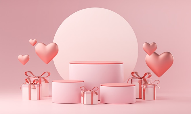 Modèle en trois étapes valentine wedding love heart shape and gift box rendu 3d