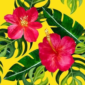 Modèle tropical sans couture avec des fleurs.