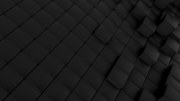 Modèle de vagues minimaliste fait de cubes. abstrait fond futuriste de surface ondulée cubique noir.