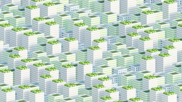 Modèle de la ville avec des bâtiments résidentiels rendu 3d illustration