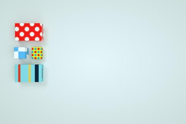 Modèles 3d de cadeaux emballés. emballage festif avec ornements, coffrets cadeaux, cadeaux. infographie, boîtes de vacances sur fond blanc