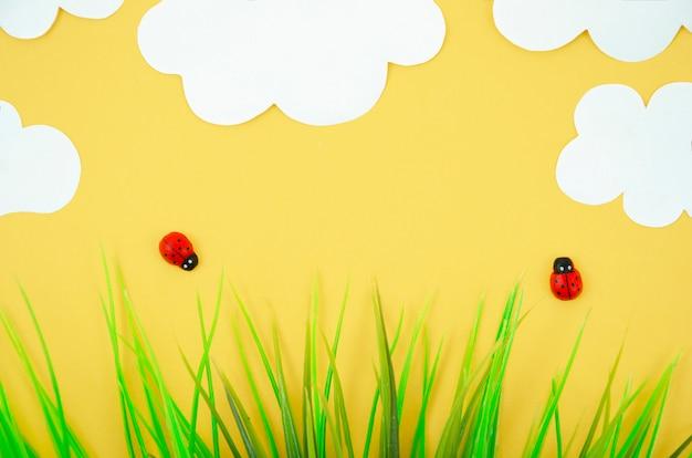 Modèles de coccinelle dessin animé vue de dessus plat poser concept minimal de l'été été