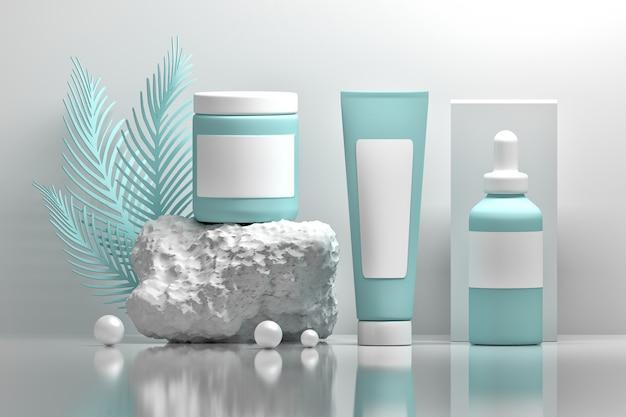 Modèles d'emballage cosmétique avec pierre, perles, feuilles