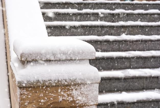 Modèles d'hiver sur clôture, blizzard
