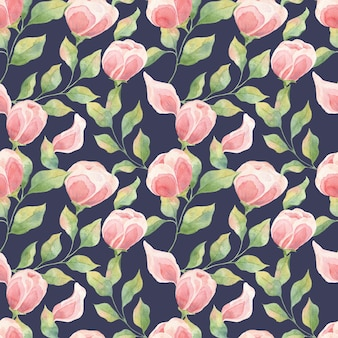 Modèles sans couture avec feuilles et bourgeons de fleurs roses