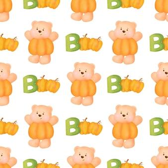 Modèles sans couture d'halloween avec un ours en peluche mignon.