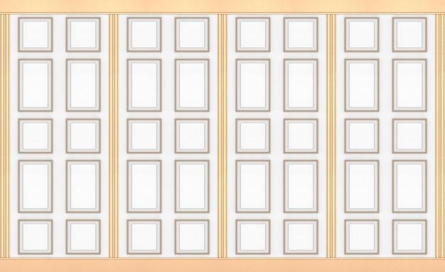 Modélisme de cadre classique carré or moderne sur fond de mur vintage bois blanc.