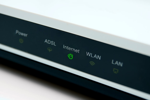 Modem, led, internet, lumières, vert