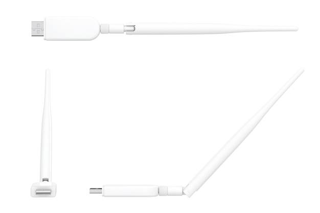 Modem usb sans fil 3g, 4g sur fond blanc. rendu 3d