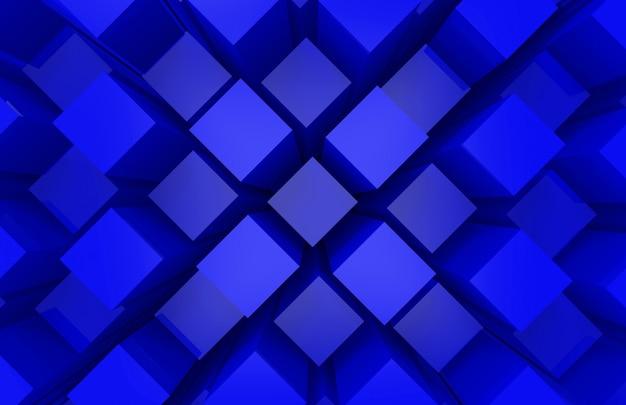 Moderne abstrait aléatoire cube bleu carré boîte bar pile mur design art mur