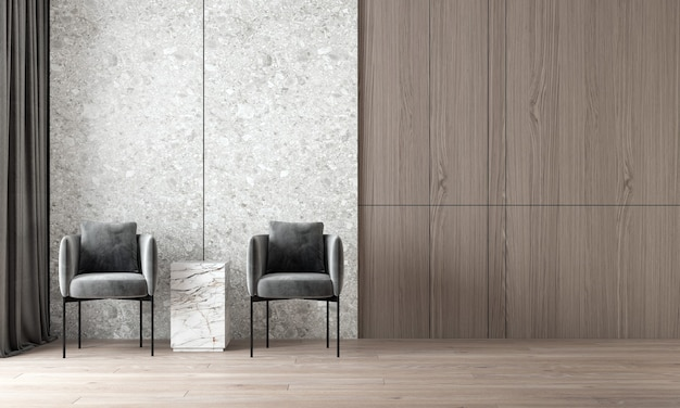 Moderne confortable maquette design d'intérieur de salon de luxe et de fond de mur en terrazzo