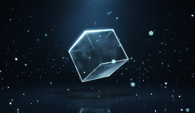 Module de cube transparent brillant abstrait avec fond bleu foncé de particules brillantes. rendu 3d