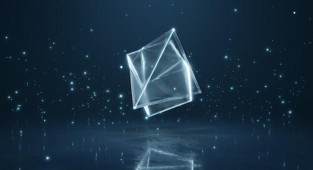 Module polygonal de mélange transparent brillant abstrait