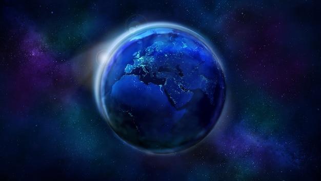 La moitié nocturne de la terre vue de l'espace
