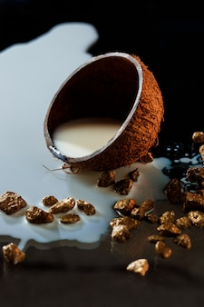 La moitié de la noix de coco avec du lait sur une surface noire