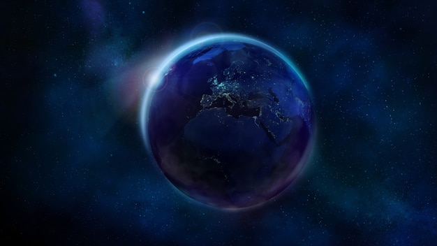 La moitié de la terre de nuit depuis l'espace montrant l'afrique, l'europe et l'asie