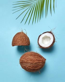 Moitiés et noix tropicale entière avec feuille de palmier sous la forme d'un visage avec un œil fermé sur une surface bleue avec un espace pour le texte. mise à plat