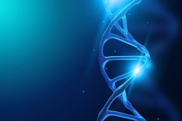 Molécule d'adn sur fond bleu