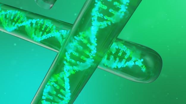 Molécule d'adn illustration 3d, sa structure. génome humain concept