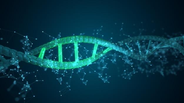Molécule de balayage d'adn de chiffres abstraits pour la biologie, la biotechnologie, la chimie, la science, la médecine, les cosmétiques, le médical, l'arrière-plan