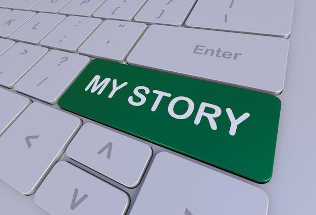 Mon histoire, message sur le clavier, rendu 3d
