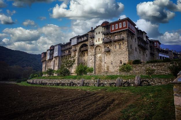 Monastère iviron sur le mont athos, chalcidique, grèce