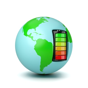 Monde alimenté par une batterie électrique isolée