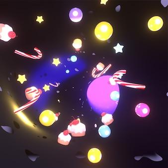 Monde de bonbons magiques rendus en 3d