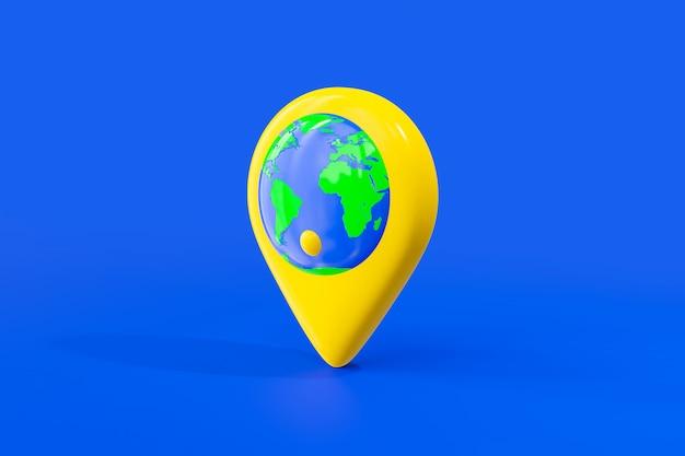 Monde dans la couleur jaune de la carte pin.