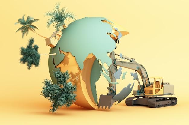 Le monde est détruit par la main de l'homme. rendu 3d