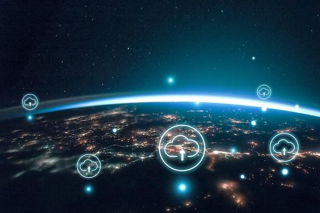 Monde numérique pour fond de bannière, remixé du domaine public par la nasa