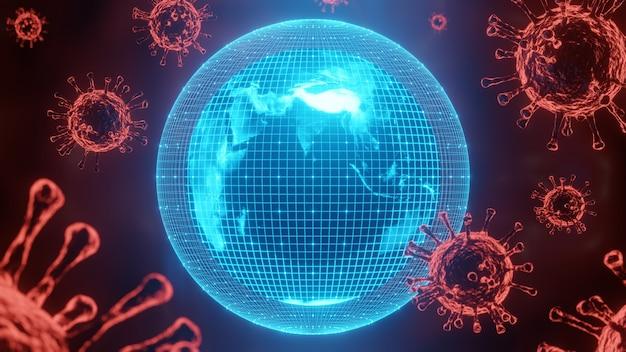 Monde de science-fiction avec shield et coronavirus ou covid-19.