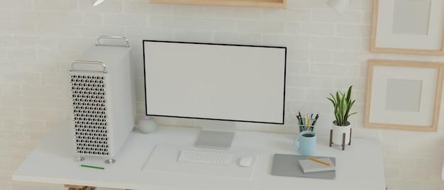 Moniteur vide d'ordinateur de bureau dans un intérieur de maison moderne et minimaliste avec des cadres vierges 3d