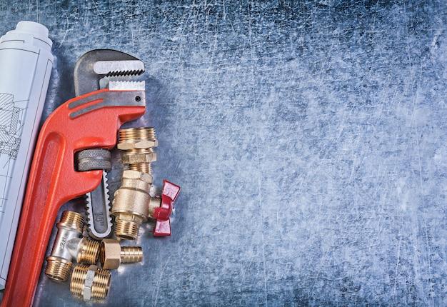 Monkey wrench blueprints mamelons de tuyau de vanne à vanne