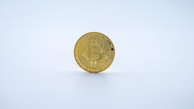 Monnaie bitcoin or métal physique sur mur blanc. nouvel argent virtuel sur internet dans le monde entier. pièce numérique dans le cyberespace, crypto-monnaie or btc. bon investissement futur du paiement en ligne