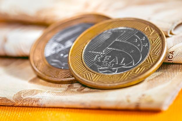 La monnaie du brésil en macrophotographie