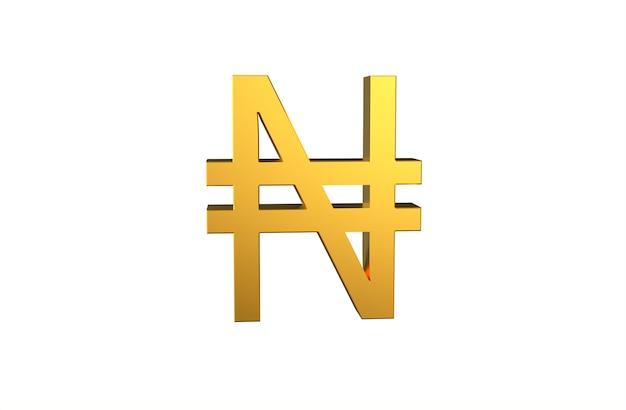Monnaie nigériane symbole naira en 3d