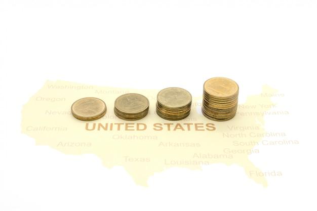 Monnaies sur carte américaine
