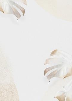 Monstera beige or laisse fond avec espace copie