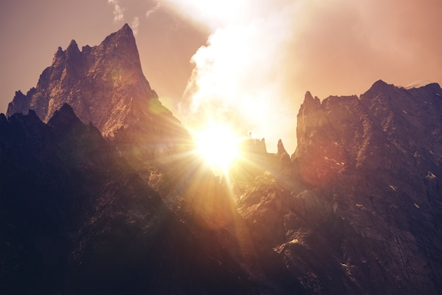 Mont blanc massif sunset