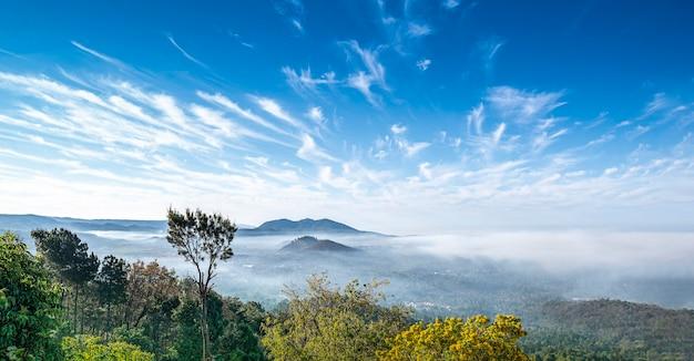 Mont ciel élevé dans les nuages vue du jardin au mexique