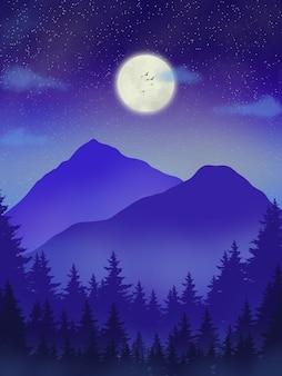 Montagne bleue de beau paysage avec la lune