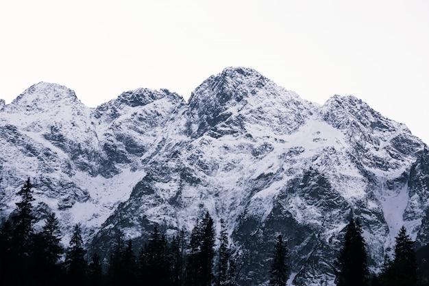 Montagne de chapeau de neige en forme de triangle dans les tatras polonaises