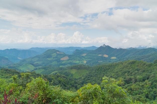 Montagne et ciel en saison estivale.