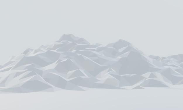 Montagne De Glace à Faible Polygone 3d. Photo Premium