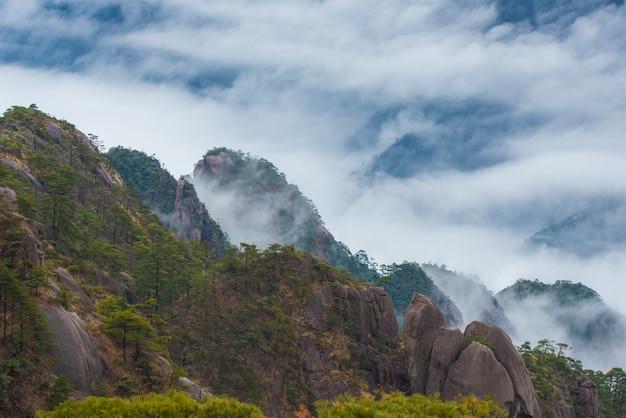 Montagne jaune ou montagne de huangshan paysages de la mer nuageuse, province de l'anhui en chine orientale.