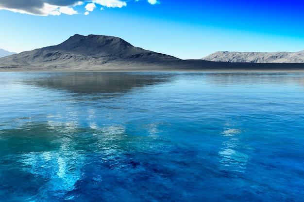 Montagne de rendu 3d près de l'arrière-plan du paysage du lac